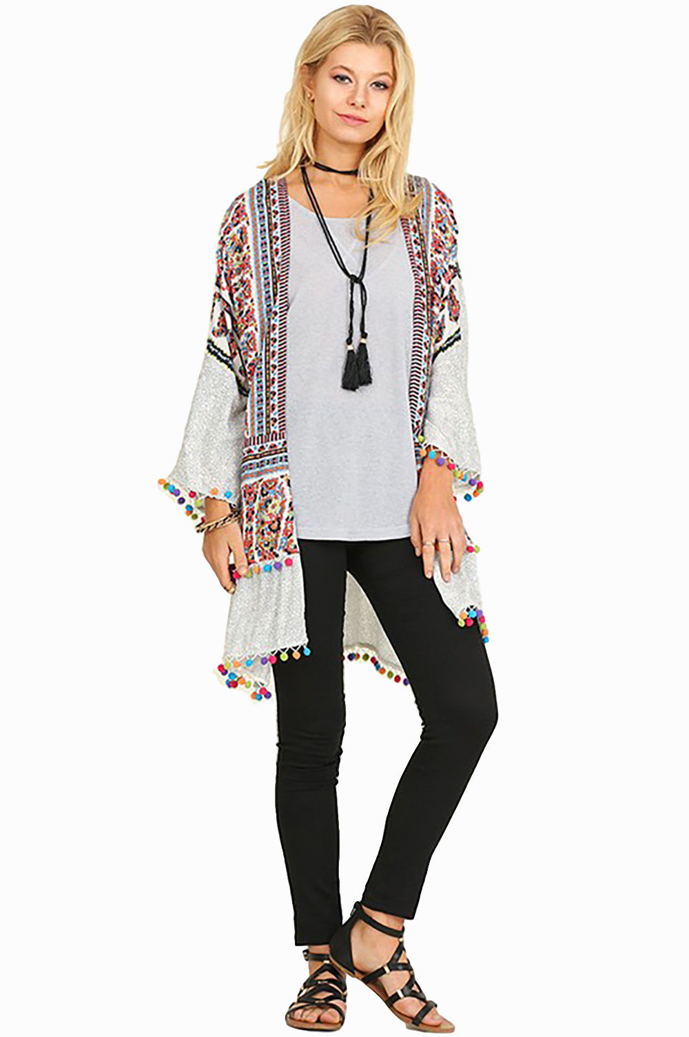 bed1038ab Women's Junior's Boho Tribal Print Colorful Pom Pom Loose Kimono Cardigan  Blouse - Fest Threads ...