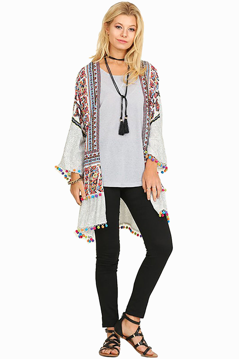 Women's Junior's Boho Tribal Print Colorful Pom Pom Loose Kimono Cardigan Blouse - Fest Threads