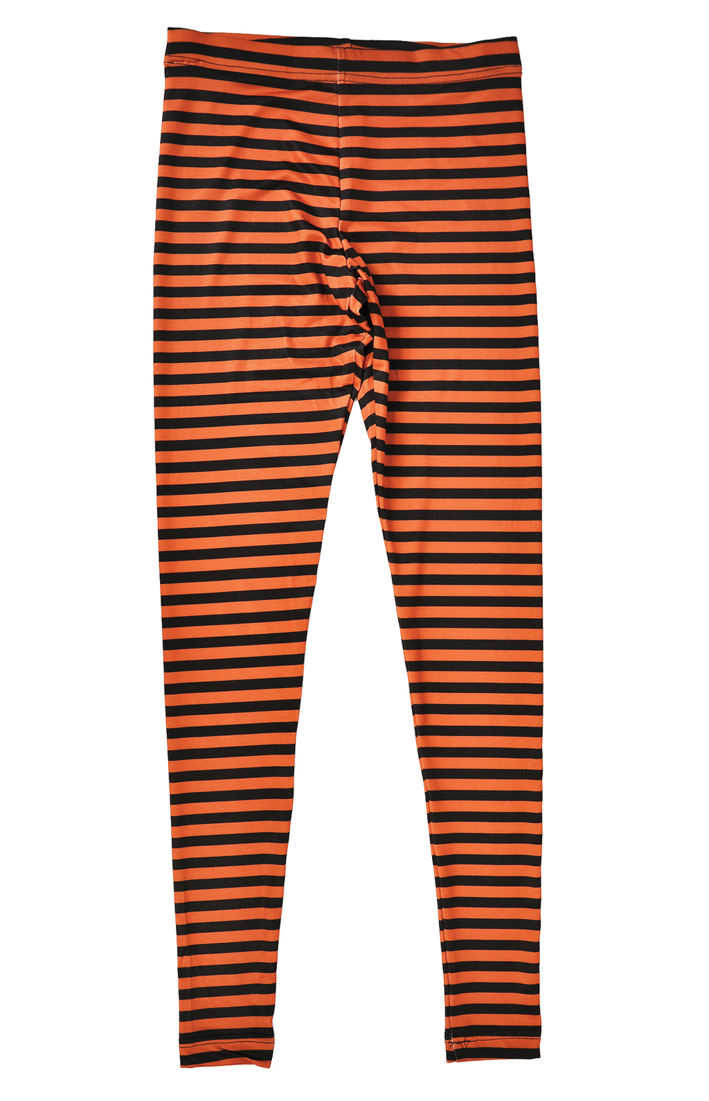 Adult Women's Halloween Orange and Black Striped Leggings - Fest Threads