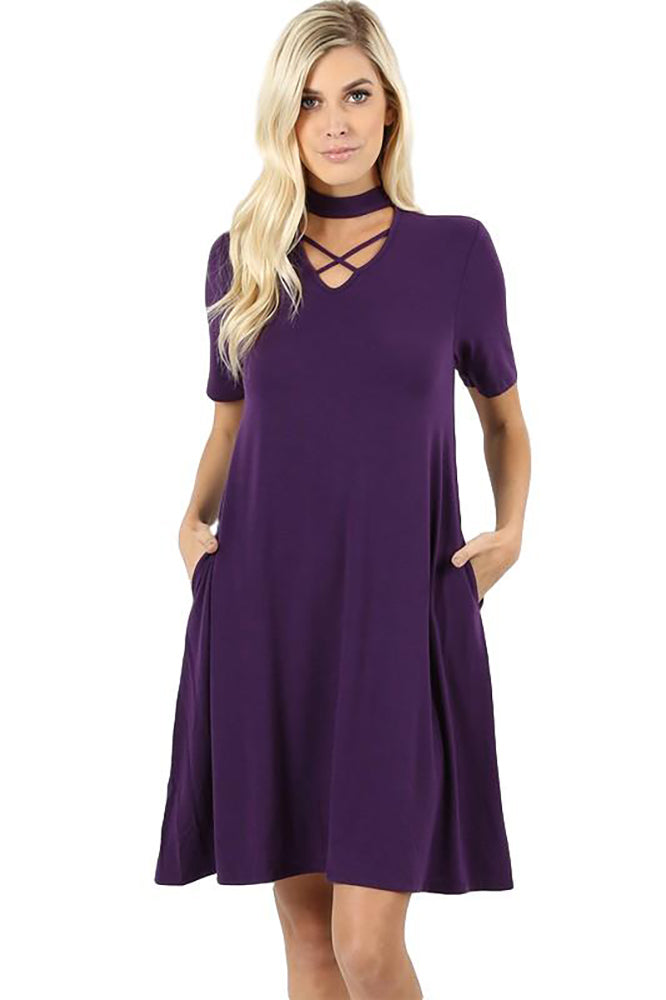 Women's Junior's Purple Mardi Gras Party Criss Cross Dress With Built In Choker