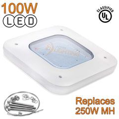 100W LED Gas Station Canopy Kit Replacement (250W Equal) - DLC Qualified