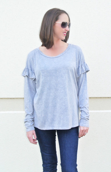 Heather Grey Top w/ Ruffle Details