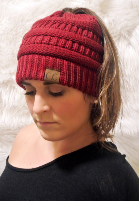 Messy Bun Knitted Beanie- Ivory
