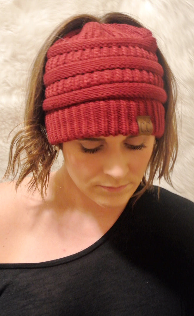Messy Bun Knitted Beanie- Burgundy