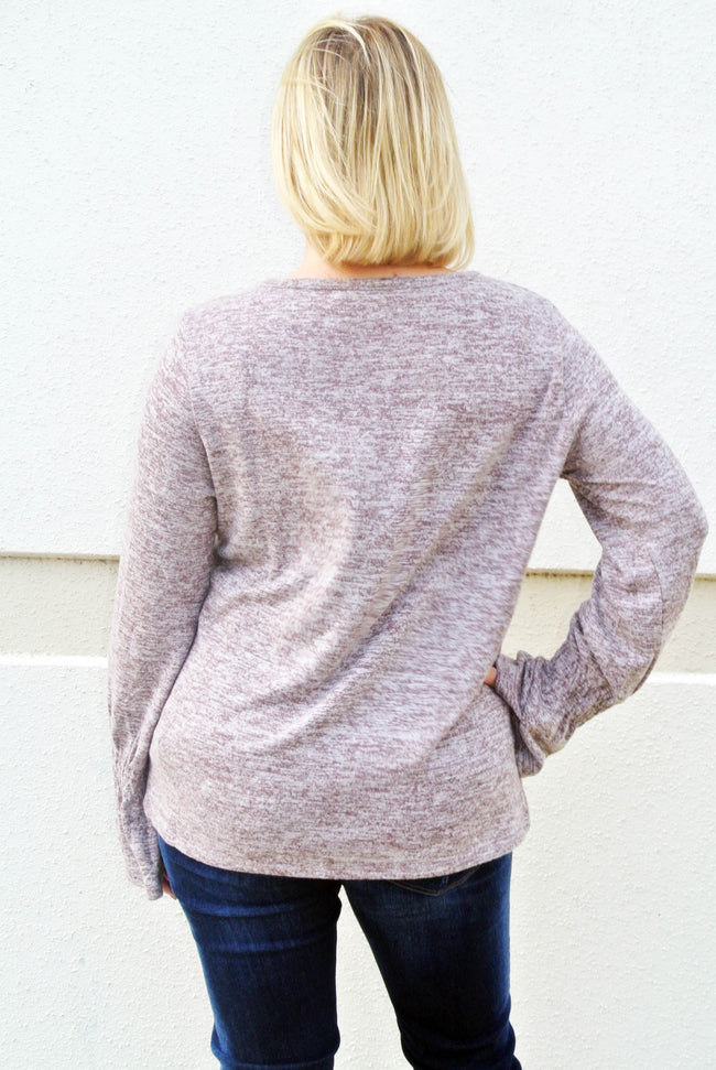 Mocha Marled Knit Top