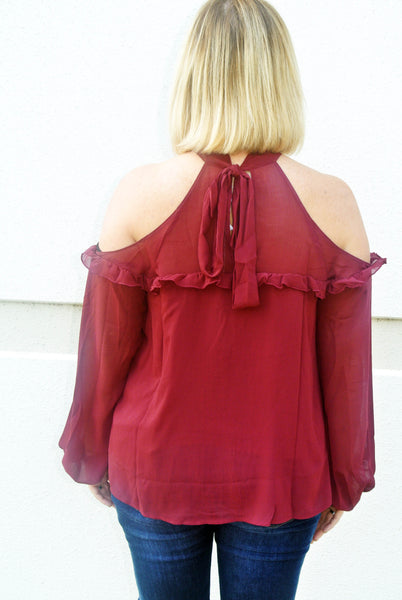 Windy City Cold Shoulder Top