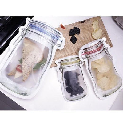 Reusable Mason Jar Storage Bag Set - Large and Medium