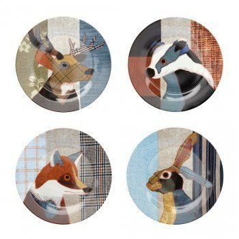 Fantastic Animals Dessert Plates - Set of 4