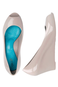 Peep Toe Wedges in Dove - Good Cloth