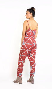Silk Tie Dye Strap Jumpsuit in Terracotta & Indigo