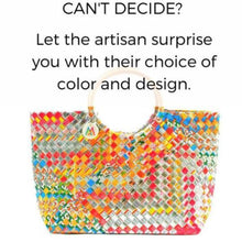 Let the Artisan Surprise You with Her Choice of Color and Design! Woven Handbag + Rattan Handles