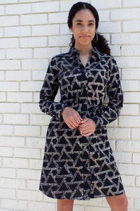 PRE-ORDER: Ikat Triangles Button-up Dress