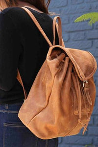 Leather Backpack in Saddle Brown