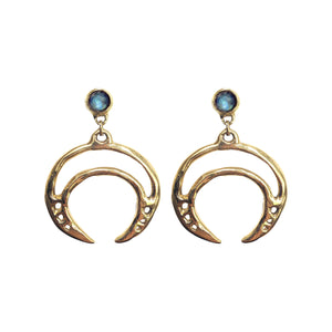 Labradorite Crescent Earrings - Good Cloth