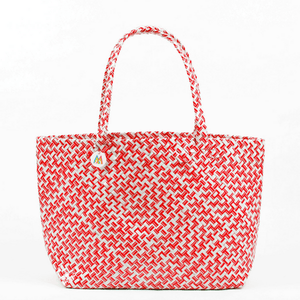 Red & White Geometric Woven Tote