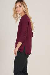 Alpaca Crew Pullover in Burgundy - Good Cloth