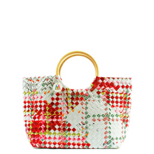 Red + White Woven Handbag