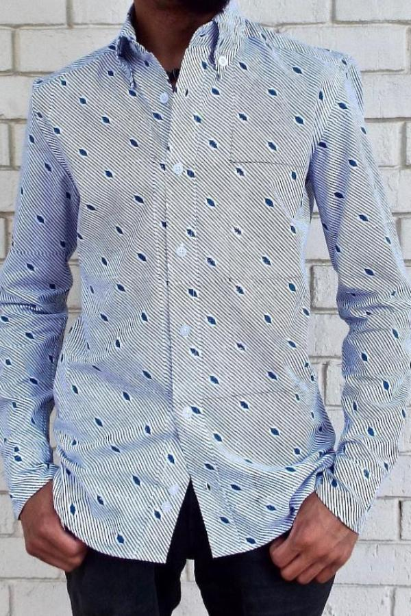 Diagonal Long Sleeve Button Down Shirt
