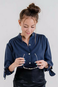 Tie-sleeve Button Up Blouse in Navy