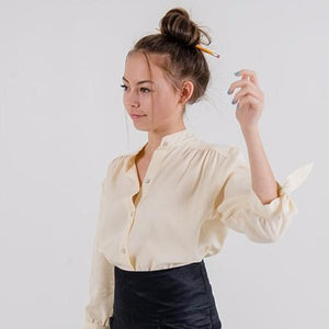 Tie-sleeve Button Up Blouse in Cream