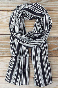 Black + White Striped Scarf