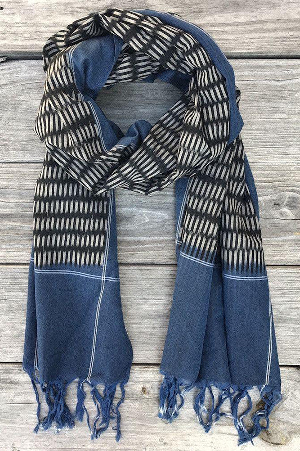 Denim and Black Ikat Scarf