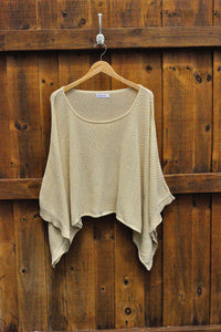 Chevron Poncho in Cream - Good Cloth