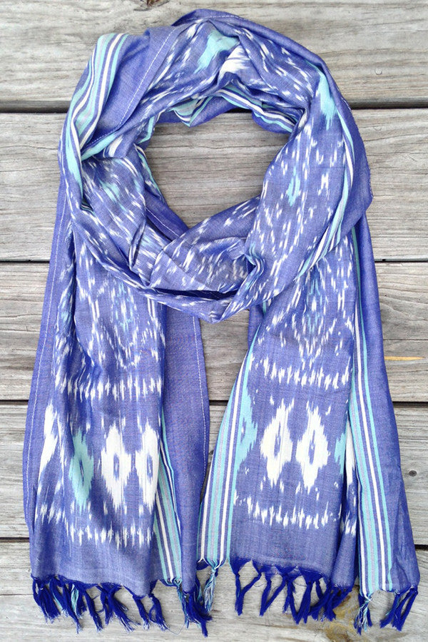 Denim and Teal Ikat Scarf - Good Cloth