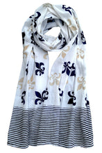 Fleur De Lis Scarf On White - Good Cloth