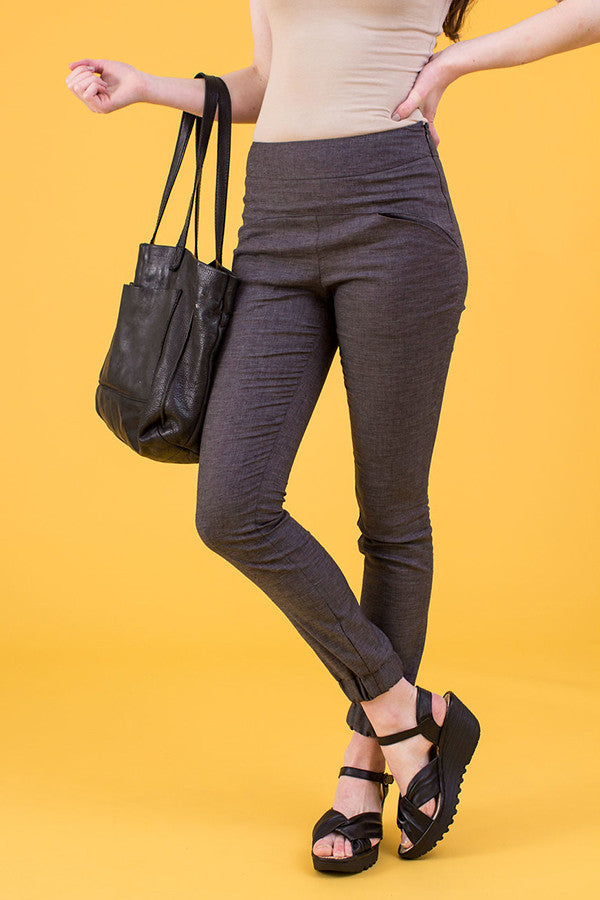 Cuffed Pants in Dark Gray