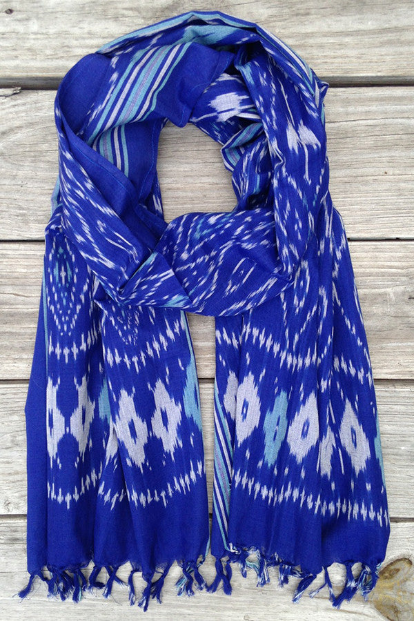 Pacific Ocean Ikat Scarf - Good Cloth