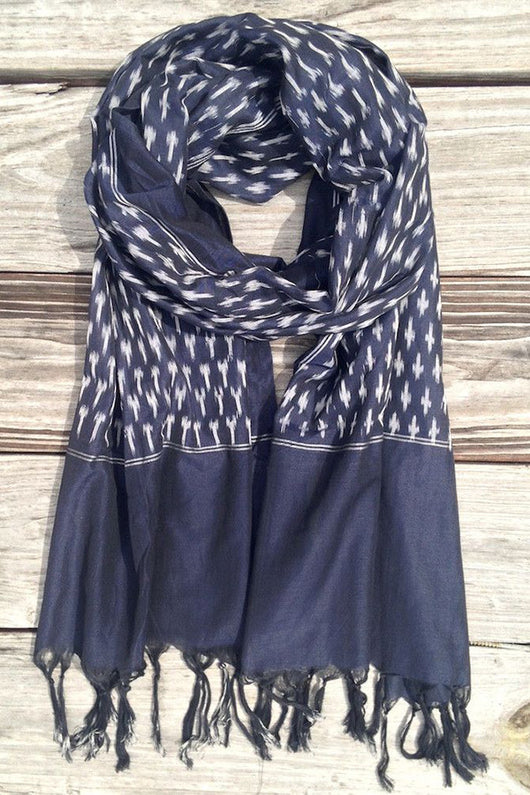 Blue Ikat Scarf - Good Cloth