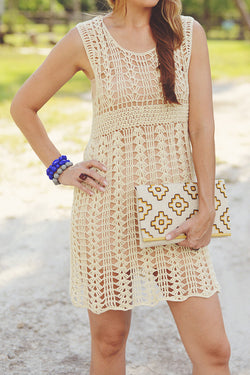 Open Knit Dress or Cover Up in Cream - Good Cloth