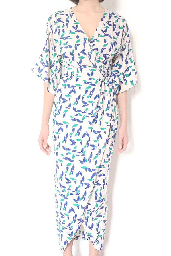 Kimono Maxi Dress in Falling Petals - Good Cloth