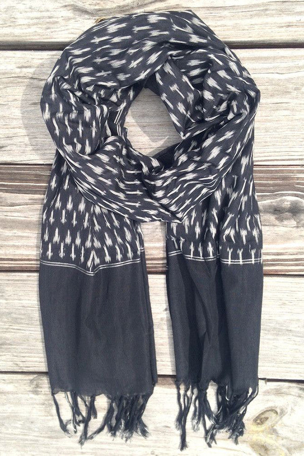 Black Ikat Scarf - Good Cloth
