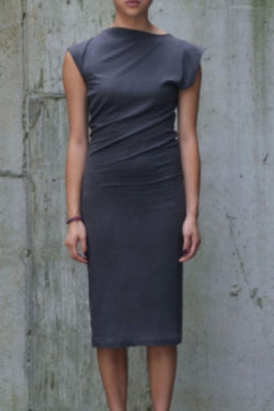 Organic Cotton Twist Dress in Charcoal - Good Cloth