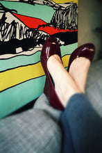 Peep Toe Wedges in Port - Good Cloth