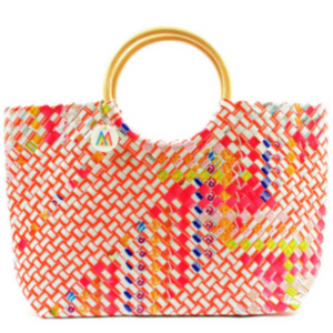 Red + Orange Woven Handbag
