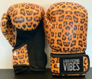 """Good Fucking Vibes"" Leopard Boxing Gloves"
