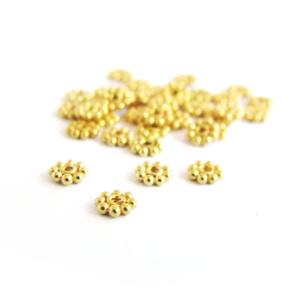 Vermeil 4mm Daisy Spacers 10 pcs SP203 small flat artisan spacer granulated beads