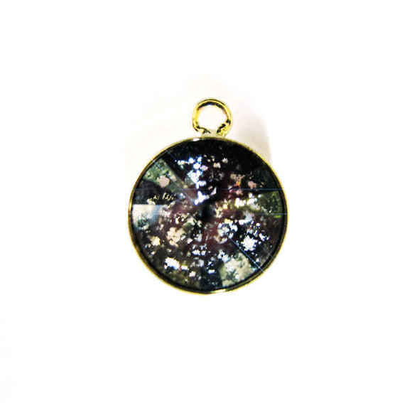 NEW! Swarovski Crystal Bezel Pendant Charm 12mm 1 pc Black Patina Swarovski Gold Vermeil Style