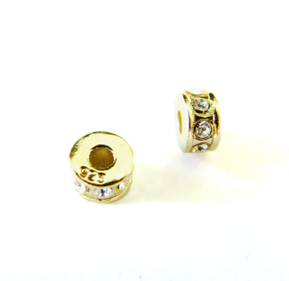 NEW! Gold Vermeil Round Spacer Bead with Swarovski Crystals 5mm 2 pcs