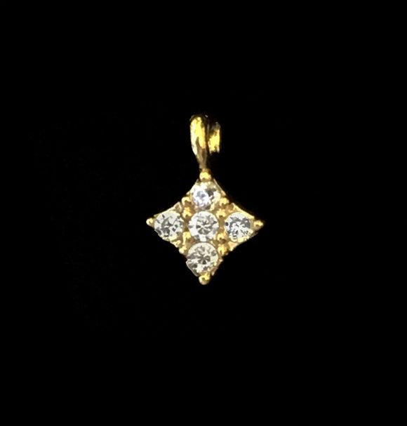 NEW! Gold over Sterling Silver CZ Tiny Drop Charm 4mm Cubic Zirconia Diamond Shaped Charm 1 pc CH235-YV