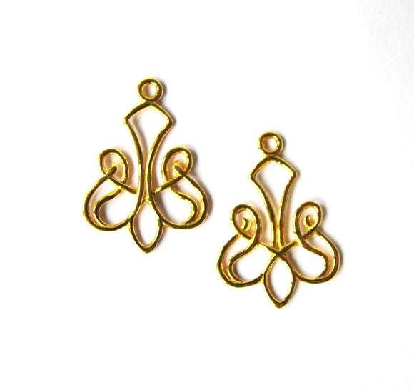 Gold Vermeil Style Earring Component 2 pc Celtic Scroll Chandelier 24mm C1112-YV