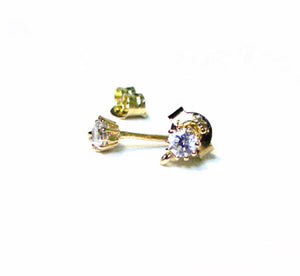 Gold Vermeil Earring Posts 1 pair 3mm with Clutch CZ Cubic Zirconia RZ106