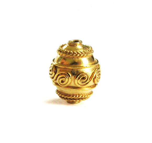 Gold Vermeil Bead 1 pc Spiral Roped 11mm