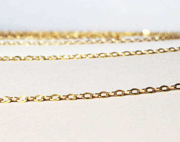 NEW! Gold Vermeil Flat Oval Cable Chain 1.5mm Shiny Petite Chain Per Foot