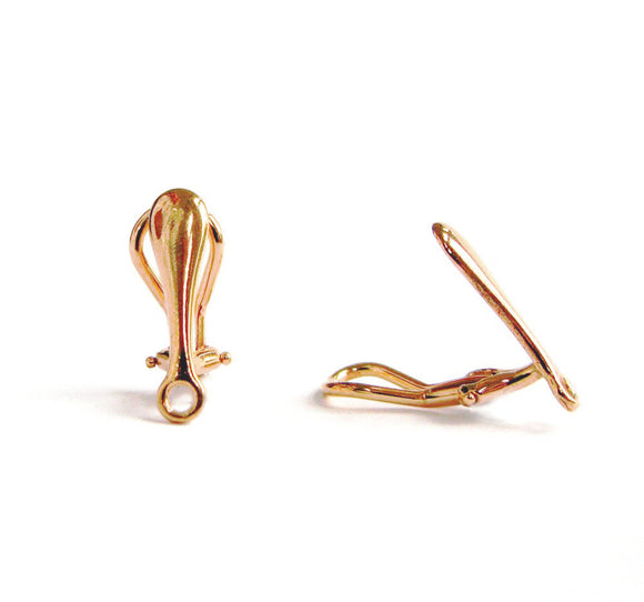 NEW! Rose Gold Vermeil Style Clip On Ear Wires Simple Elegant 1 pair 17 mm