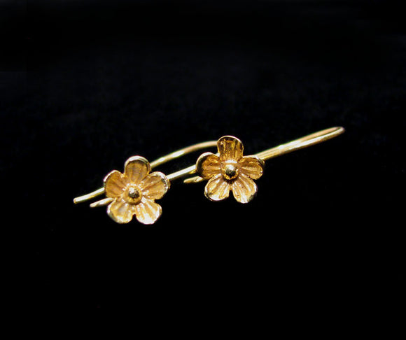Gold Vermeil Flower Ear Wires 1 pair 8mm Flower Blossom EW208