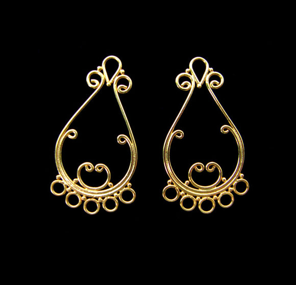 Gold Vermeil Earring Component 2 pcs Scroll Chandelier 29mm C1109-YV
